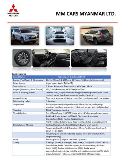 Mitsubishi Pajerosport GLX 2020 , New Car for sale in myanmar market and price