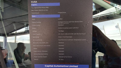Ford Kuga Specifications.