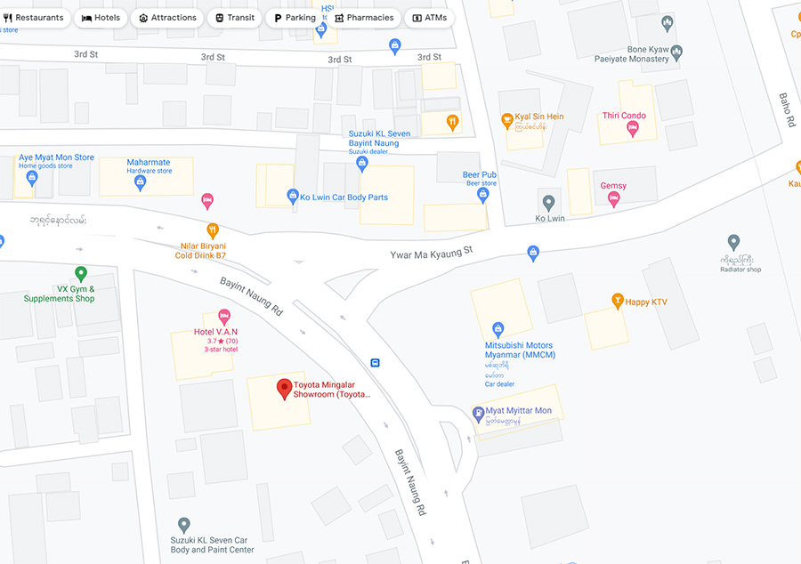 Toyota Mingalar map