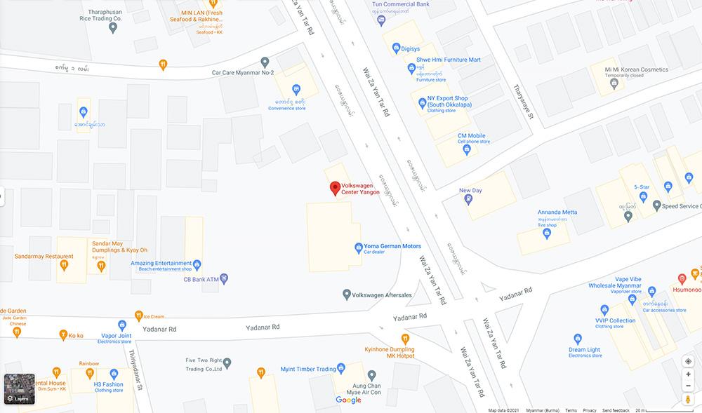 Volkswagen Myanmar map